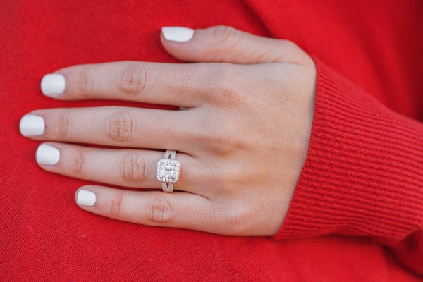 Woman's left hand wearing The Princess on ring finger