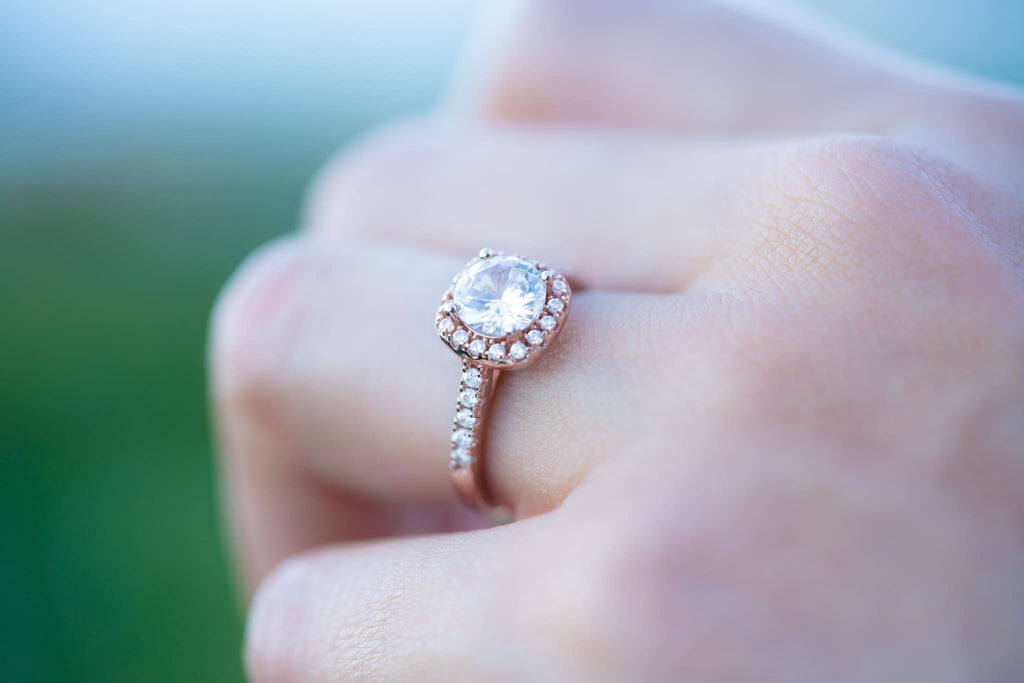 rose gold halo cushion engagement ring affordable inexpensive
