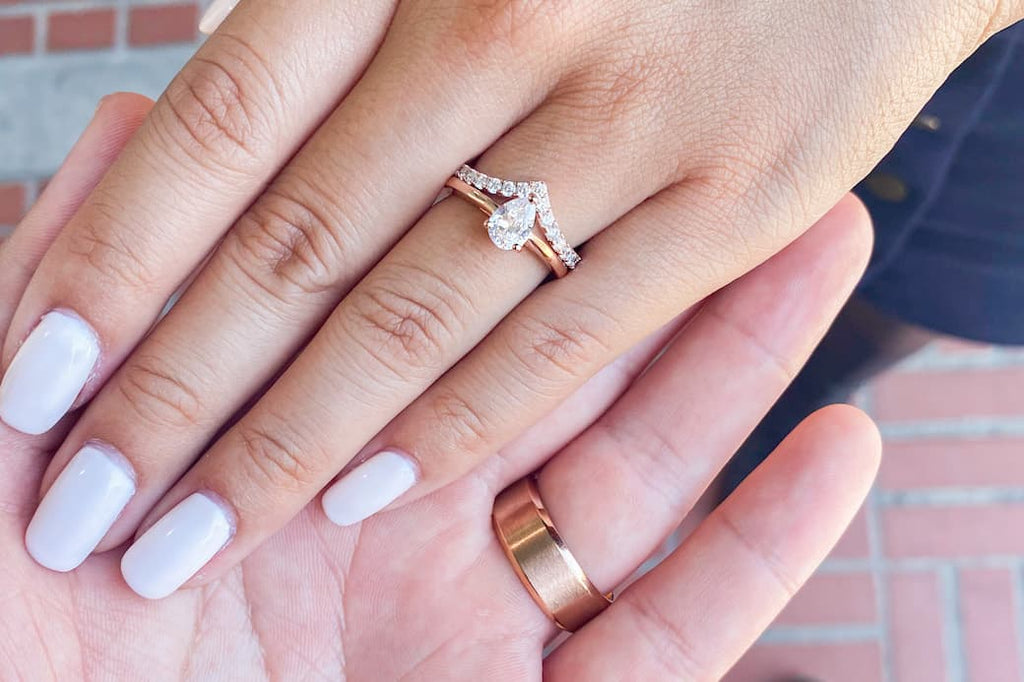 Rose Gold His and Hers Engagement Ring Solitaire Pear Cut Petite Half Eternity Wedding Band Set Conflict Free Simulated Diamond Stone Inexpensive Affordable