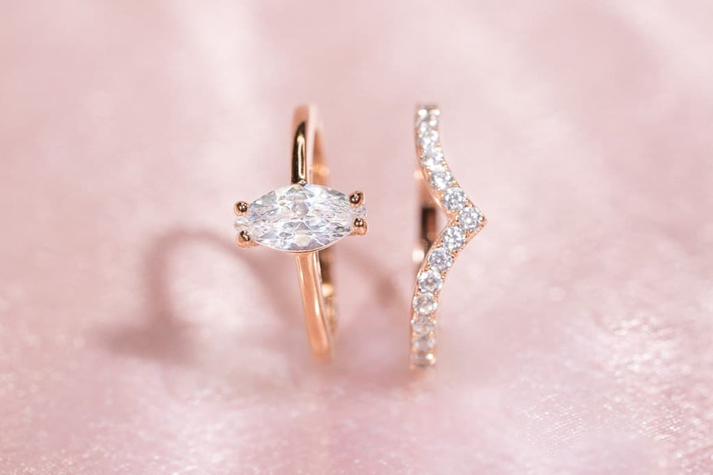 Rose Gold Marquise Cut Solitaire Petite Engagement Ring Chevron Wishbone Half Eternity Wedding Band Set Inexpensive Affordable Conflict Free Simulated Diamond Stone