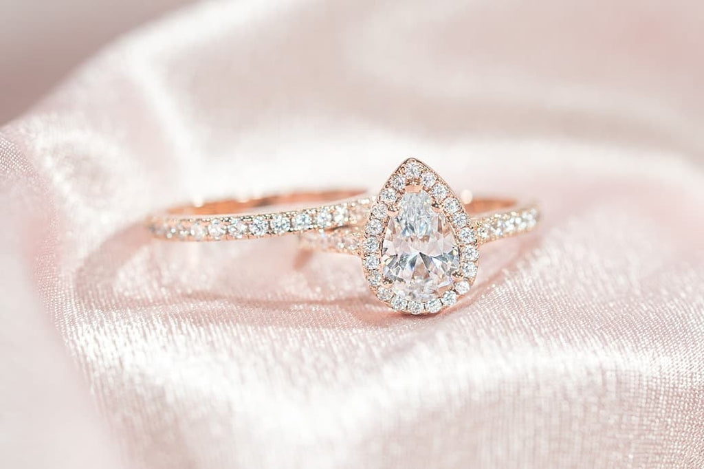 Rose Gold Pear Cut Halo Engagement Ring Half Eternity Wedding Band Set Inexpensive Affordable Conflict Free Simulated Diamond Stone