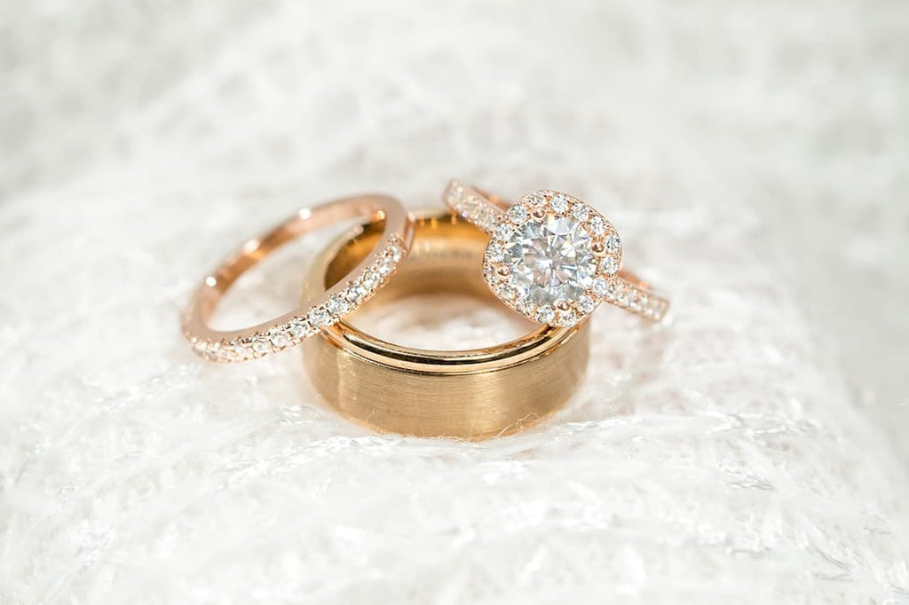 Rose Gold Round Cut Cushion Halo Half Eternity Engagement Ring Wedding Band Set Matching His Hers Couple