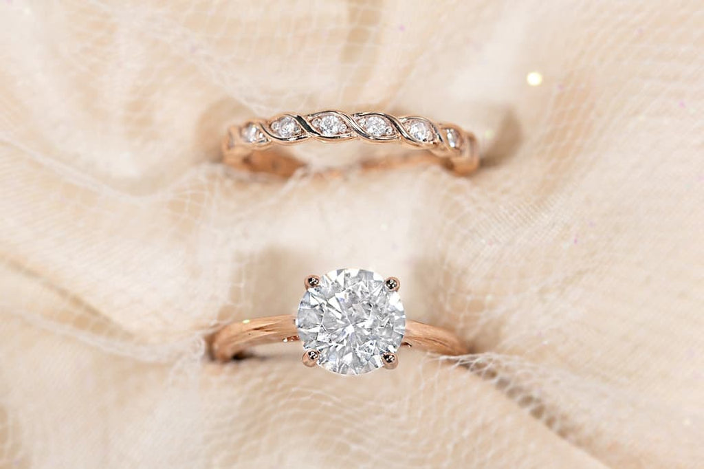 Rose Gold Round Cut Solitaire Engagement Ring Braided Wedding Band Simulated Diamond Stone Inexpensive Affordable Conflict Free