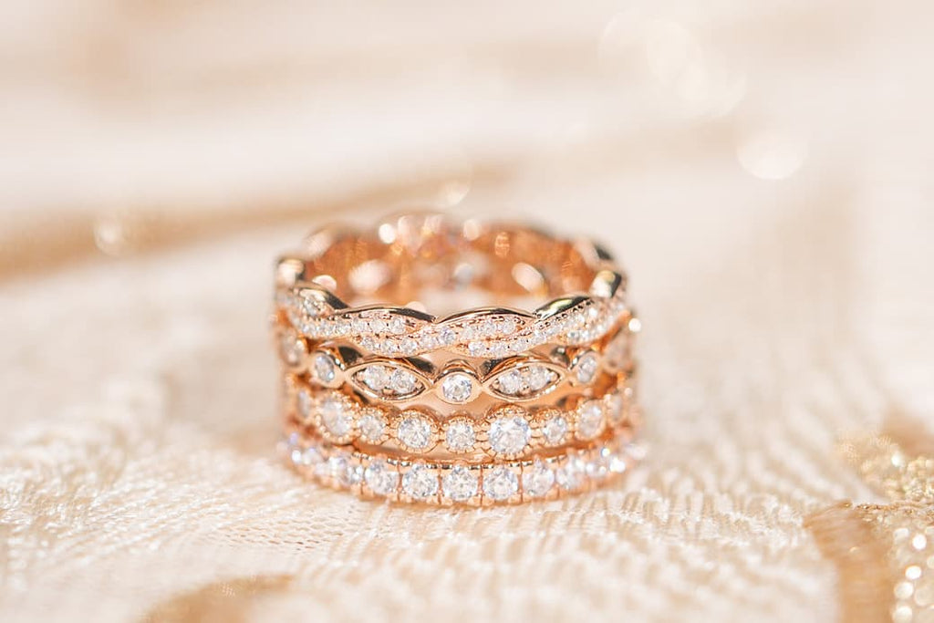 Stack of wedding bands