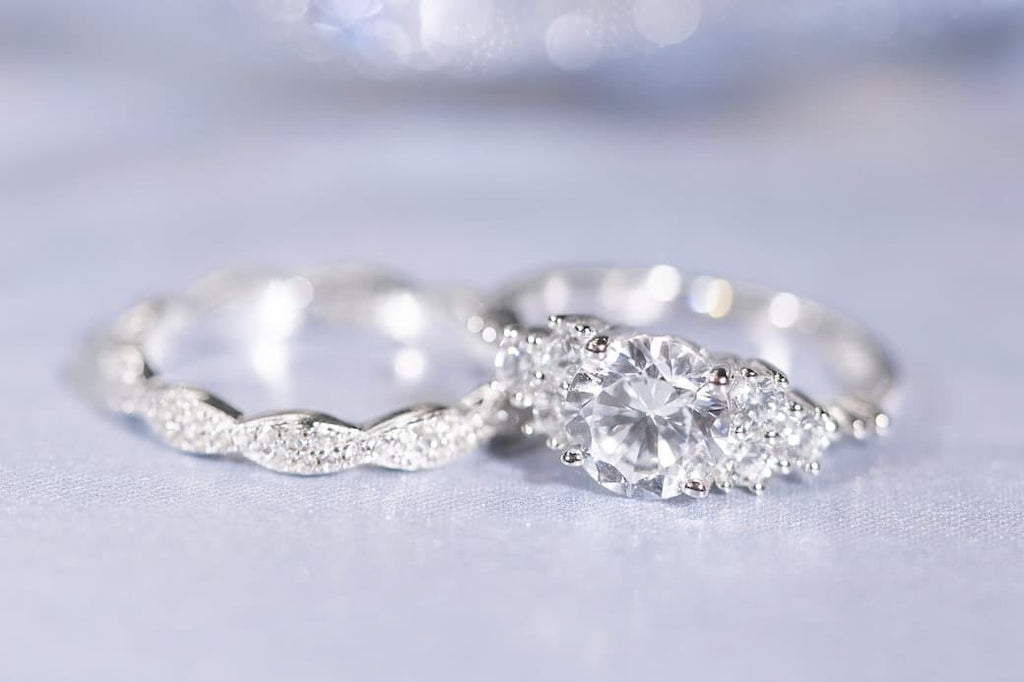 Shared Prong Engagement Ring Braided Eternity Wedding Band Set Inexpensive Affordable Conflict Free Simulated Diamond Stone