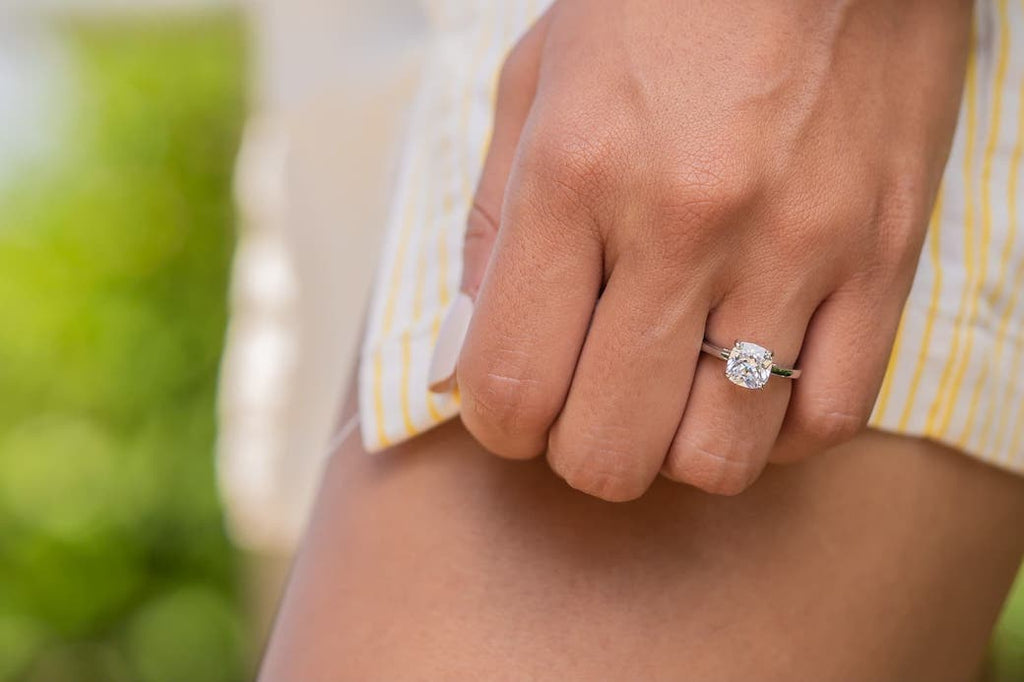 Simple Cushion Cut Minimal Engagement Ring Wedding Inexpensive Affordable