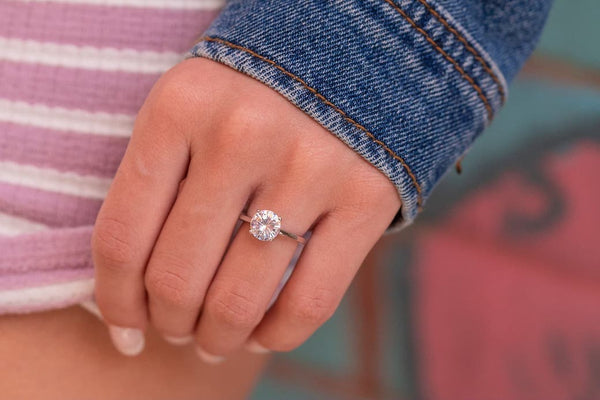 Solitaire Engagement Ring Round Cut Simple Minimal Inexpensive Affordable Conflict Free