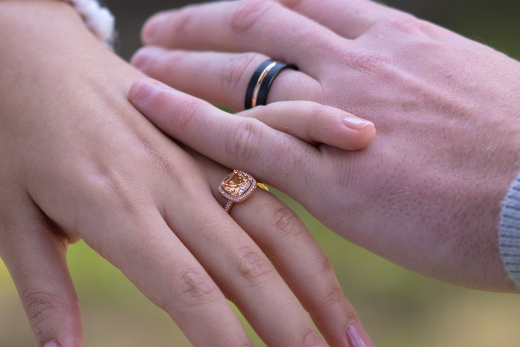stunning matching rose gold his and hers matching wedding band set engagement ring inexpensive and affordable high quality