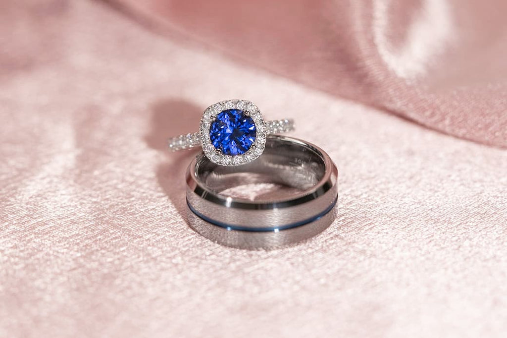 Tanzanite Blue Stone Engagement Ring Cushion Halo Men's Unique Wedding Band His and Hers Set Inexpensive Affordable Conflict Free Simulated Diamond Stone