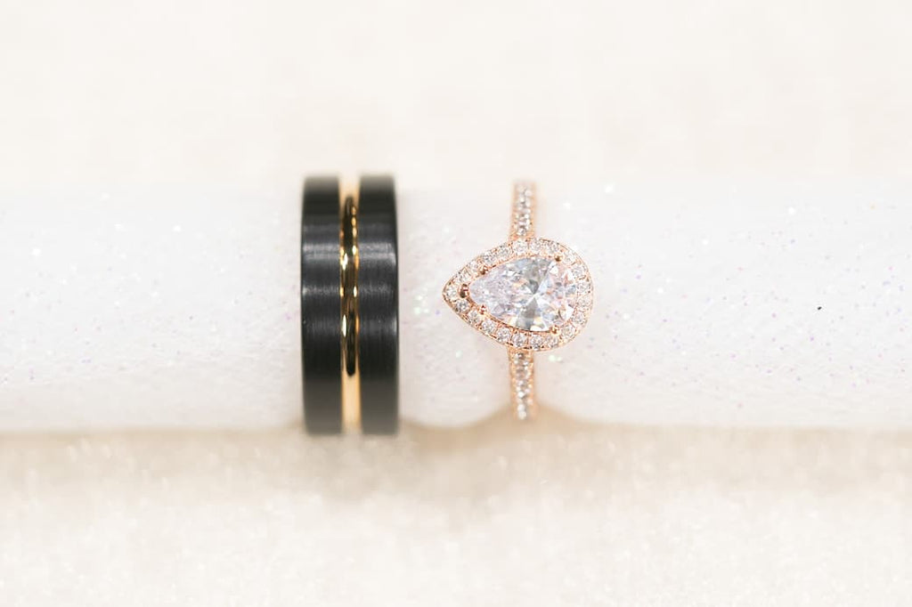 Unique Rose Gold Wedding Set His Hers Pear Halo Engagement Ring Conflict Free Simulated Diamond Stones Inexpensive Affordable