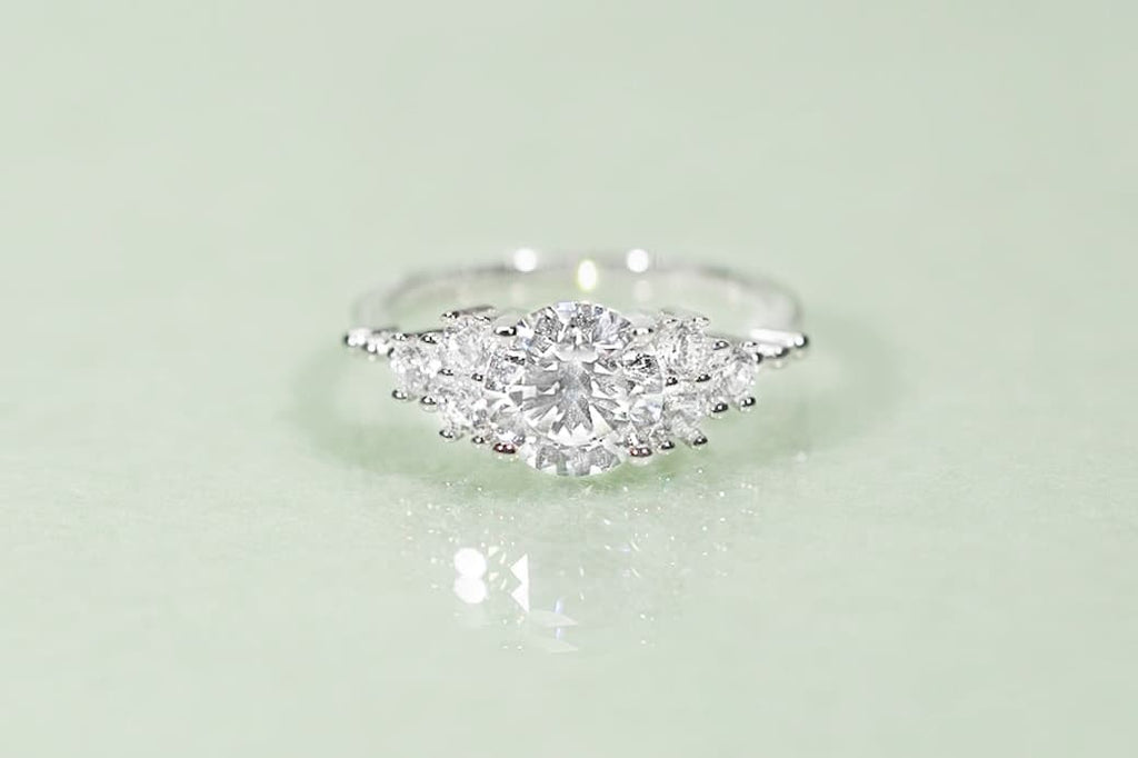 Unique Shared Prong Six Stone Engagement Ring Simulated Diamond Stone Conflict Free Inexpensive Affordable