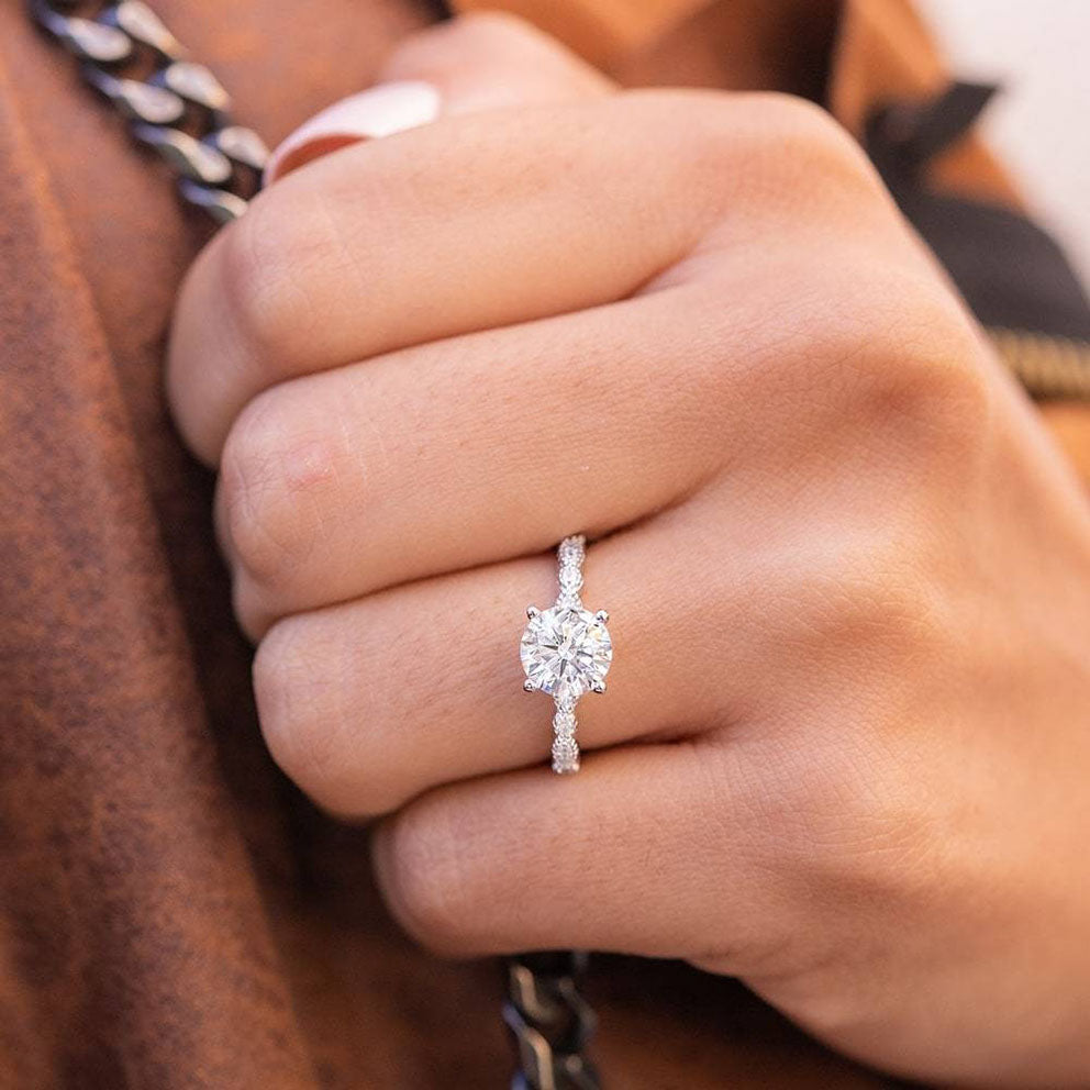 closeup of woman's engagement ring
