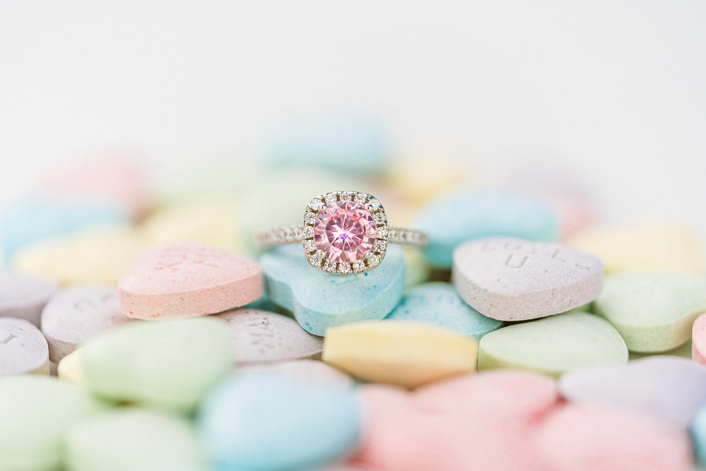 pink sapphire halo engagement ring and candy gifts for valentine's day