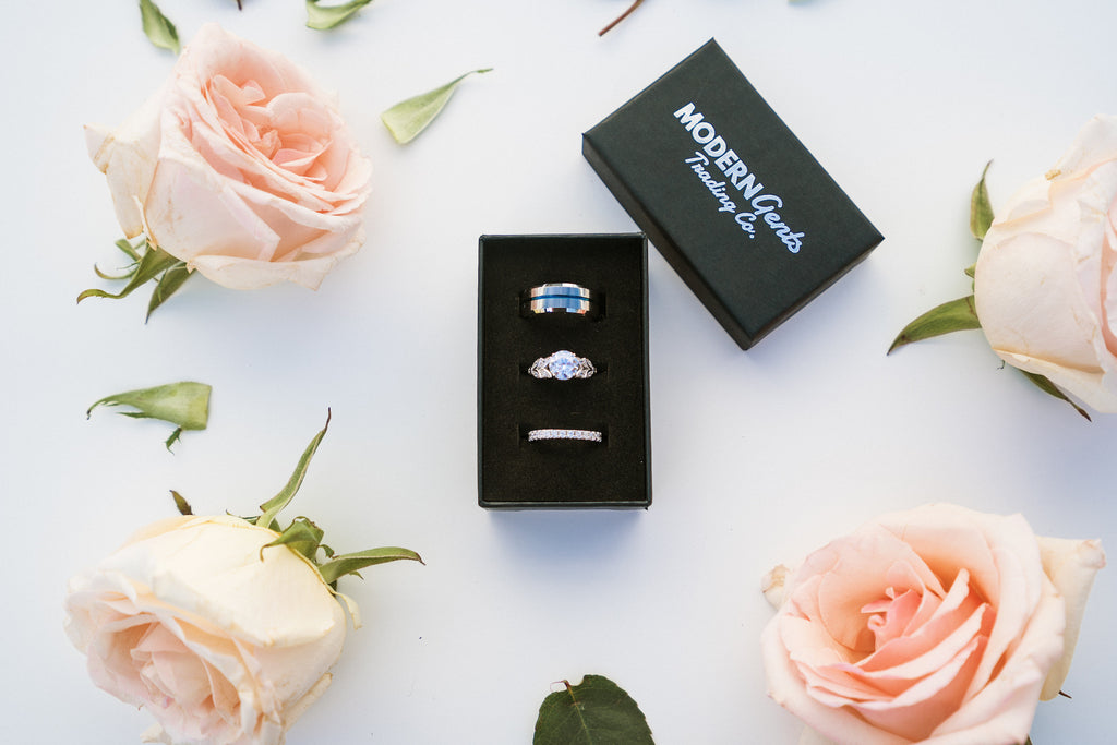 unique his and hers engagement and wedding ring set blue sterling silver