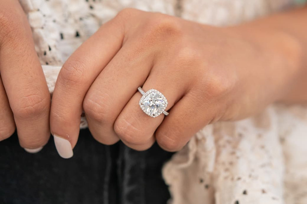 cushion cut halo 3 carat engagement ring inexpensive affordable conflict free simulated diamond stone