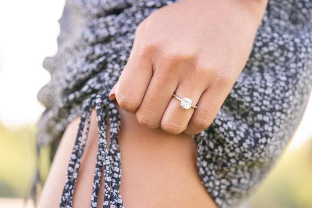 cushion cut solitaire engagement ring inexpensive affordable conflict free simulated diamond stone petite minimal