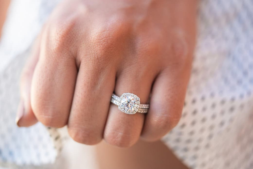 cushion halo silver engagement ring inexpensive affordable wedding band set conflict free simulated diamond stone