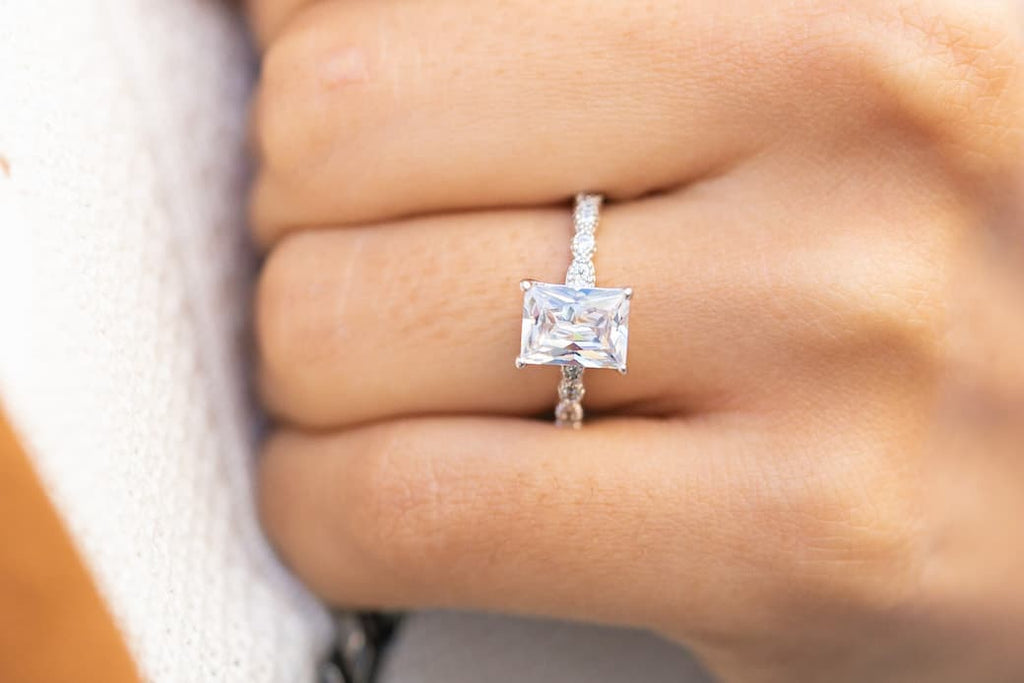 emerald cut vintage engagement ring inexpensive affordable conflict free simulated diamond stone