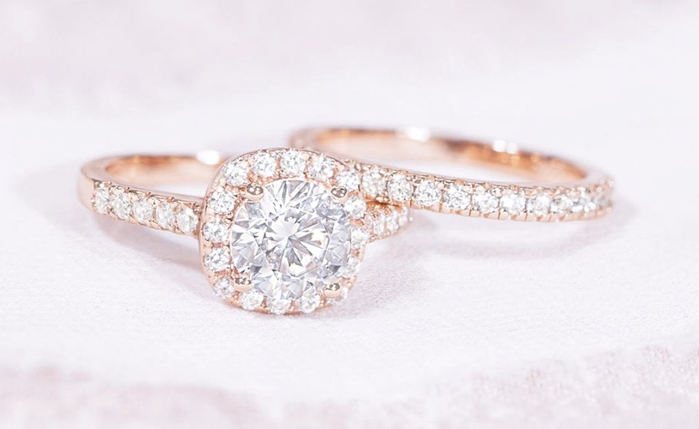 halo engagement ring and eternity band