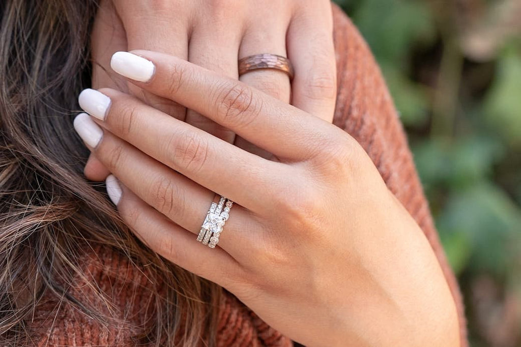 inexpensive affordable conflict free simulated diamond stones engagement ring wedding bands his hers set unique