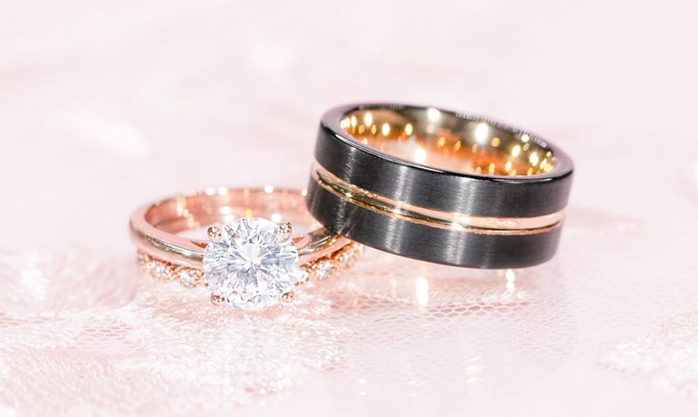 man's and a woman's wedding rings