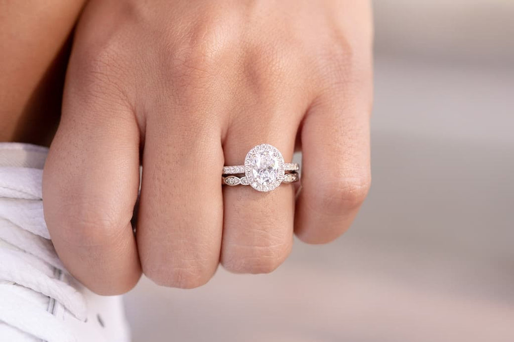 oval cut solitaire engagement ring inexpensive affordable conflict free simulated diamond stone wedding band set unique eternity