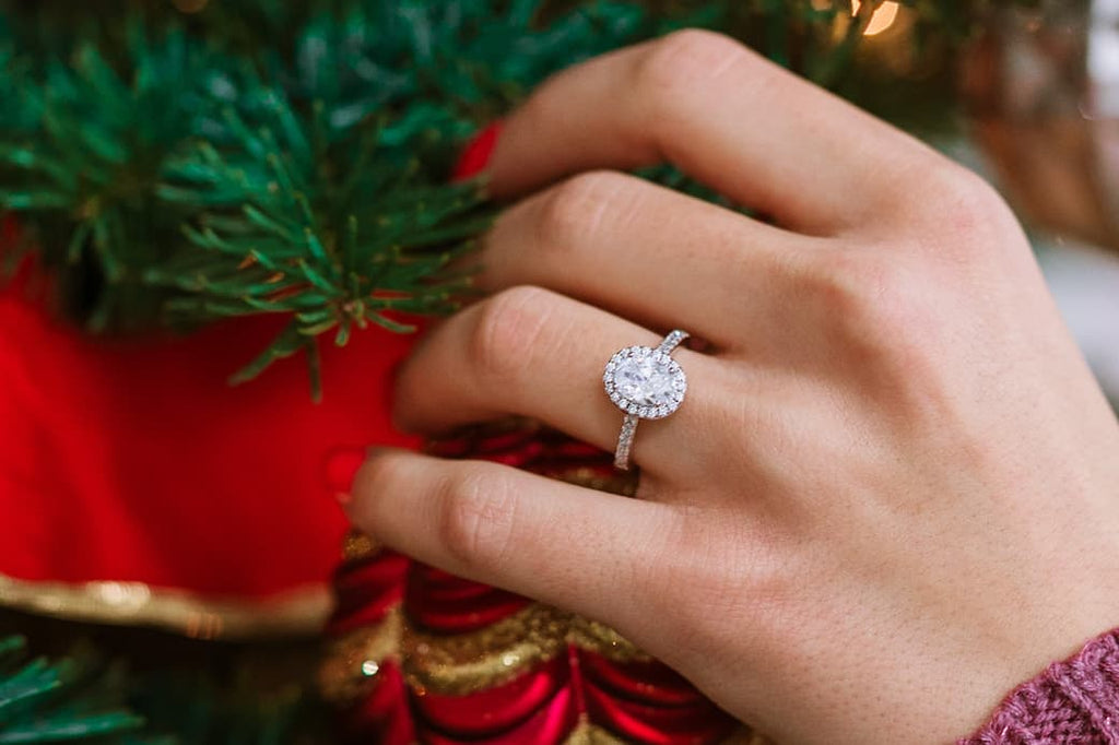 oval halo simple engagement ring inexpensive affordable conflict free simulated diamond stone proposal holiday