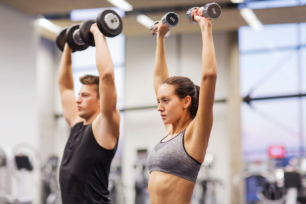 pair lifting weights in gym