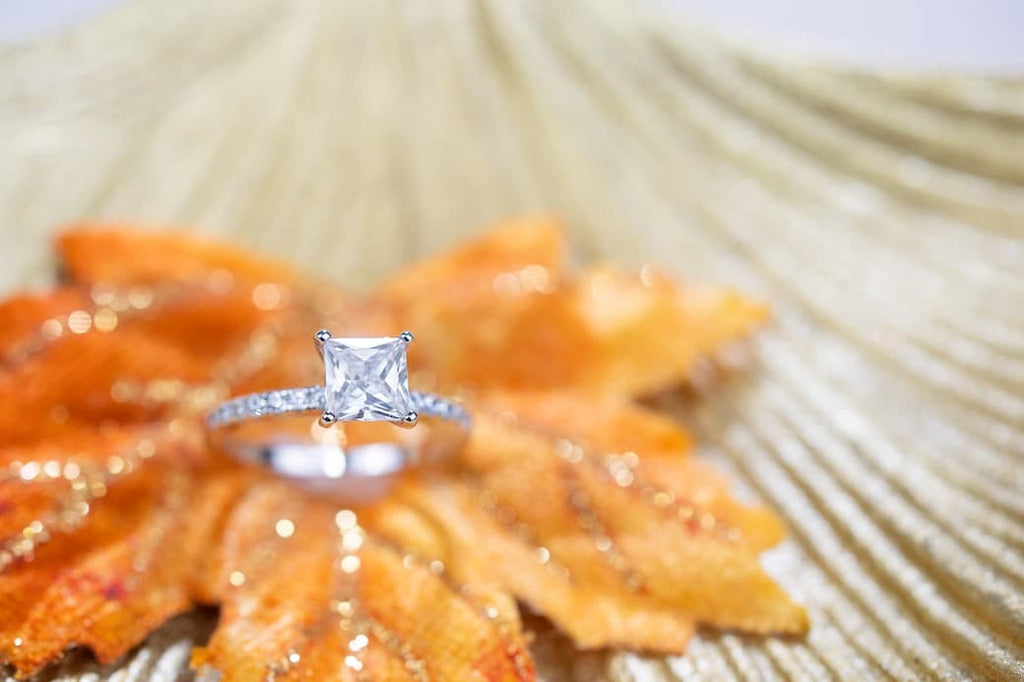 princess cut engagement ring classic simple inexpensive affordable conflict free simulated diamond stone