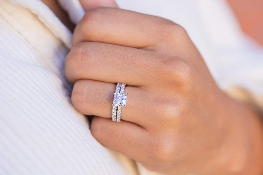 princess cut engagement ring half eternity wedding band set inexpensive affordable conflict free simulated diamond stone