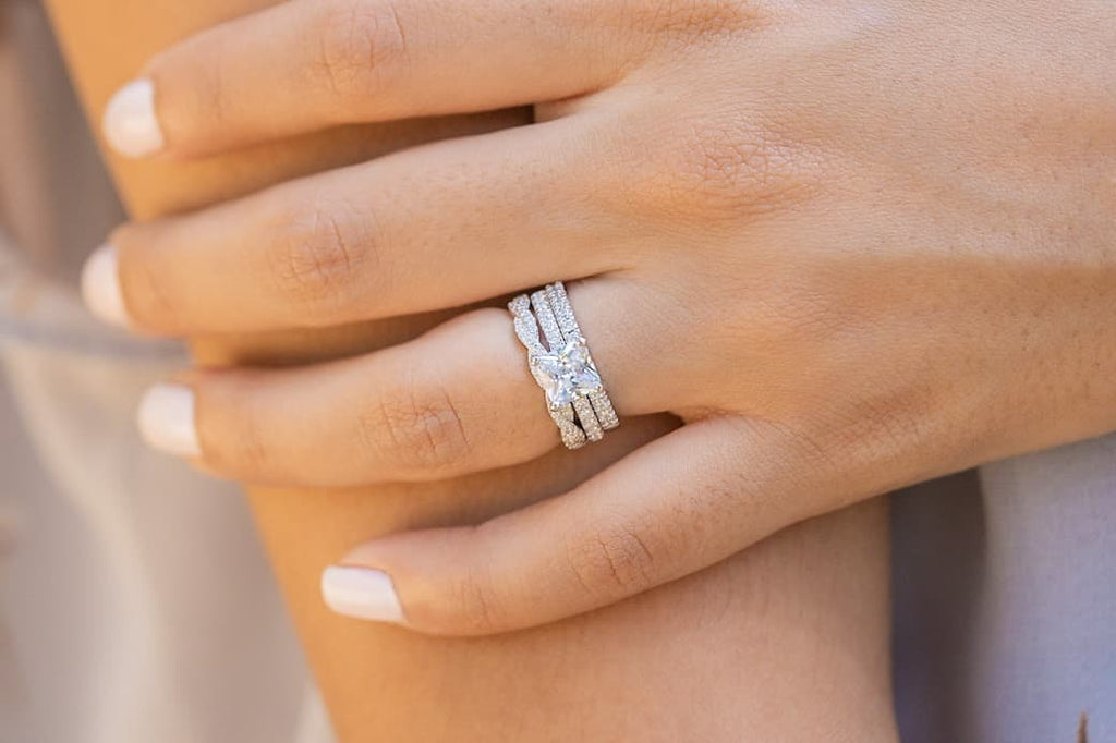 princess cut engagement ring wedding band eternity set inexpensive affordable conflict free simulated diamond stone
