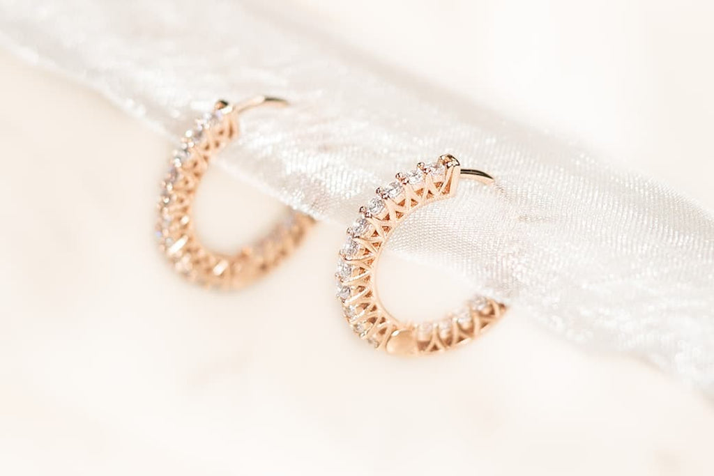 rose gold bridal jewelry bridesmaids accessories hoops earrings conflict free simulated gemstones inexpensive affordable