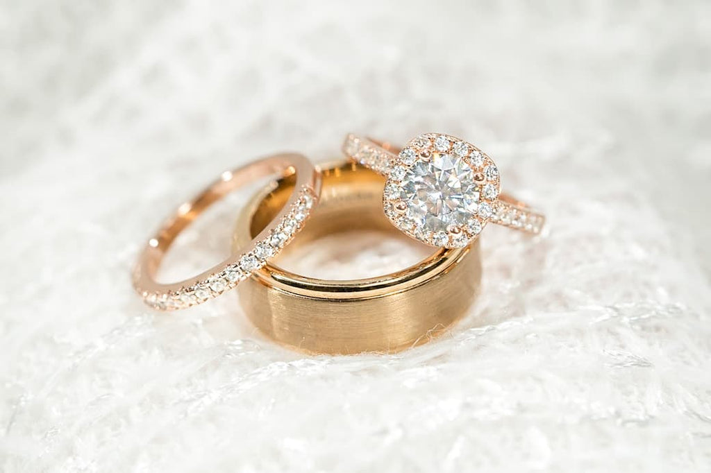 rose gold cushion halo engagement ring half eternity wedding band set his hers matching inexpensive affordable conflict free simulated diamond stone