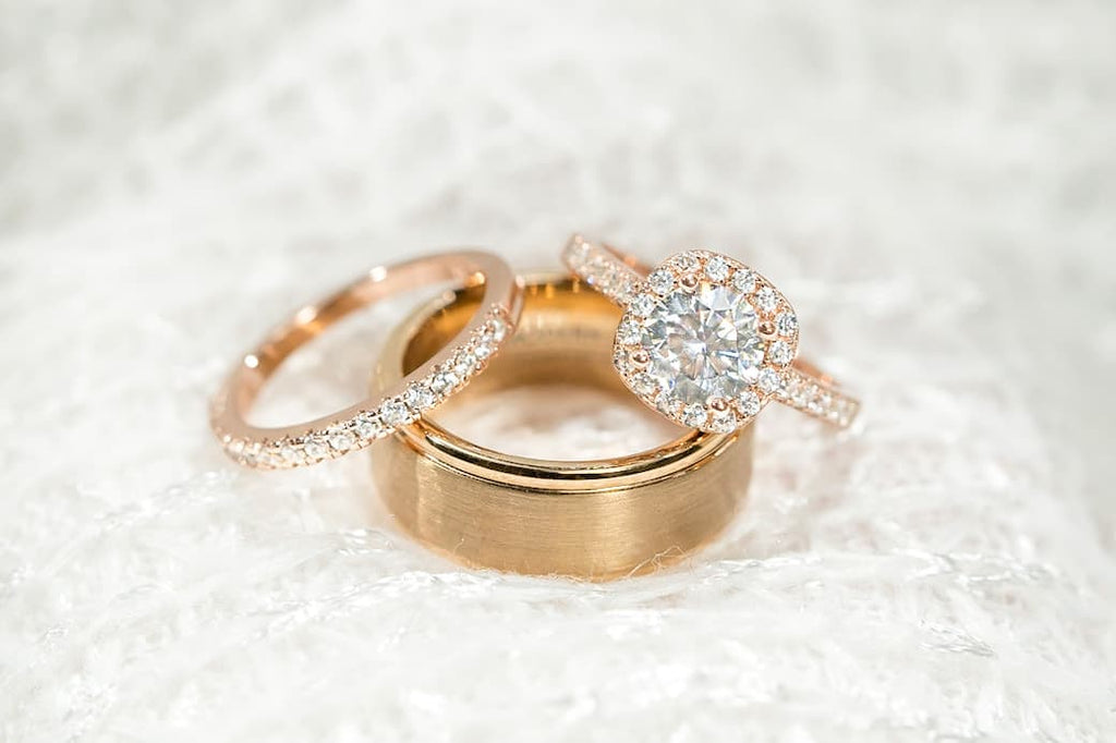 rose gold cushion halo engagement ring simulated conflict free diamond stone wedding bands set couples matching inexpensive affordable