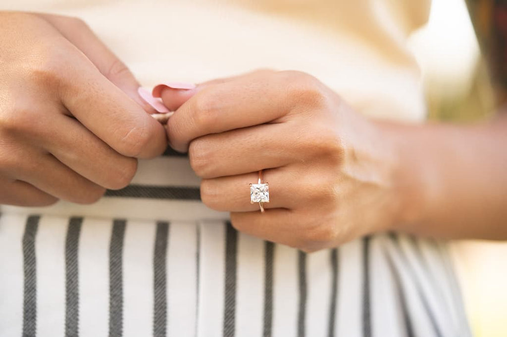 rose gold princess cut solitaire engagement ring conflict free simulated diamond stone inexpensive affordable