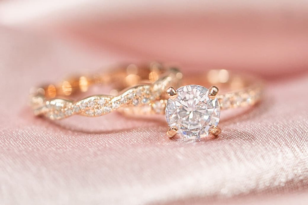 rose gold round cut engagement ring braided eternity wedding band set inexpensive affordable conflict free simulated diamond stone