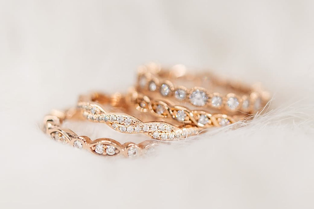 rose gold wedding bands inexpensive affordable conflict free simulated gemstones