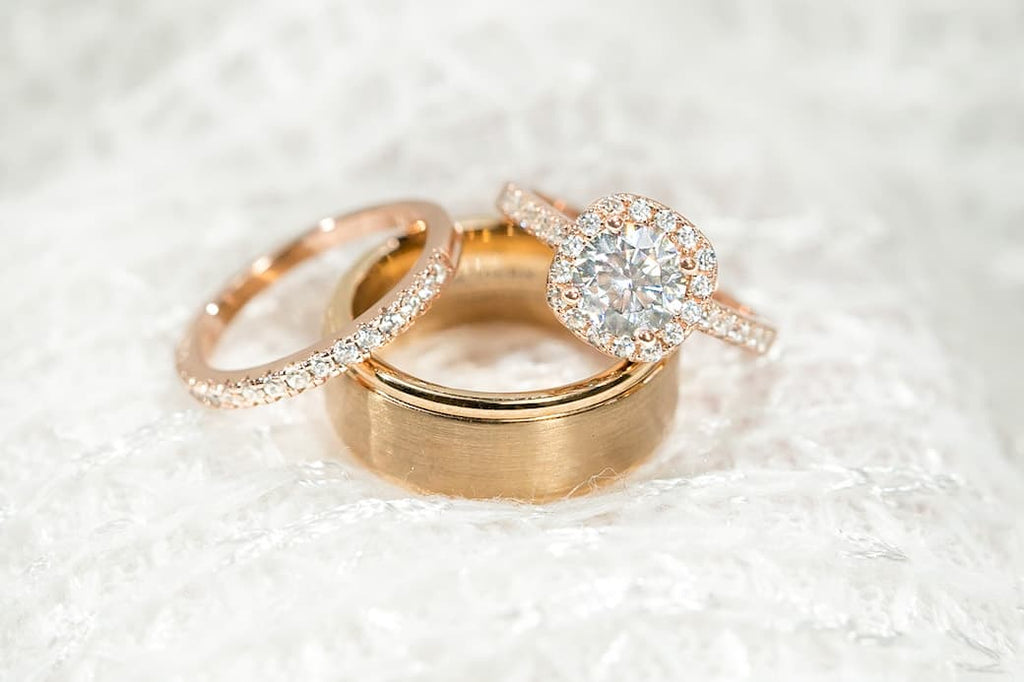 rose gold wedding set his hers inexpensive affordable conflict free simulated diamond stone cushion halo half eternity engagement ring men's band
