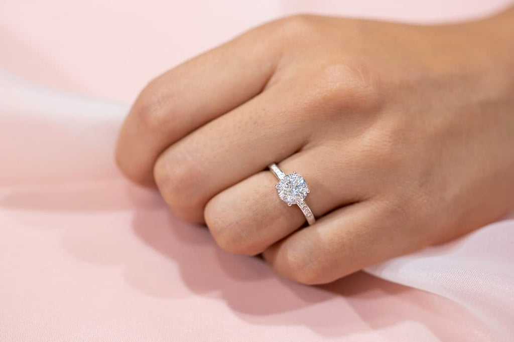 round cut pave pavé engagement ring classic inexpensive affordable proposal wedding simulated diamond stone