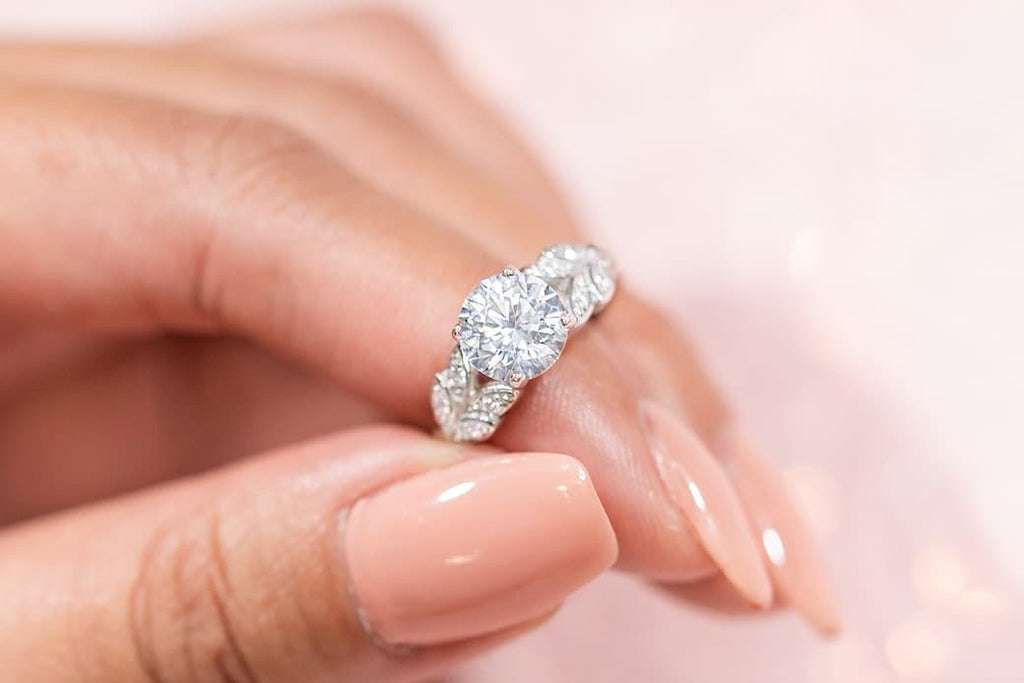 round cut simulated diamond stone unique engagement ring leaf leaves band inexpensive affordable conflict free