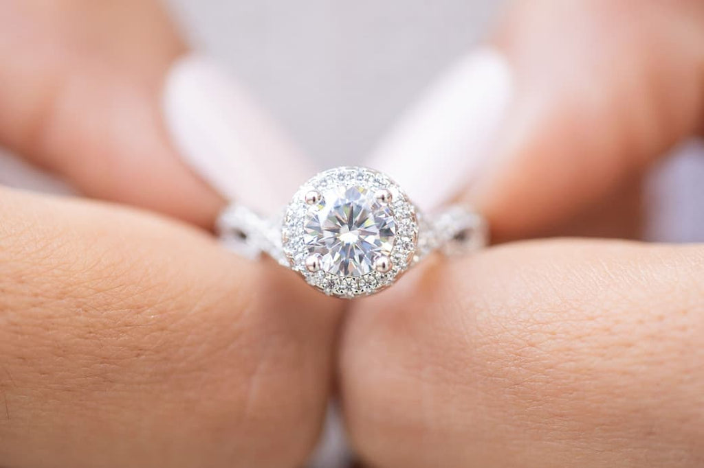 round halo engagement ring vintage inexpensive affordable conflict free simulated diamond stone