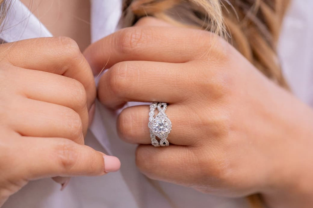round halo engagement ring vintage inexpensive affordable conflict free simulated diamond stone wedding band set unique