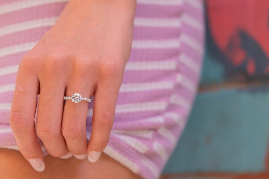 simple vintage round cut engagement ring inexpensive affordable conflict free simulated diamond stone
