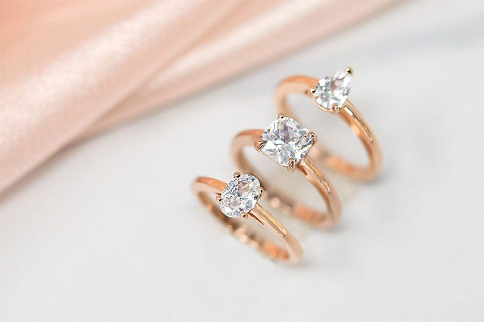trio of engagement rings