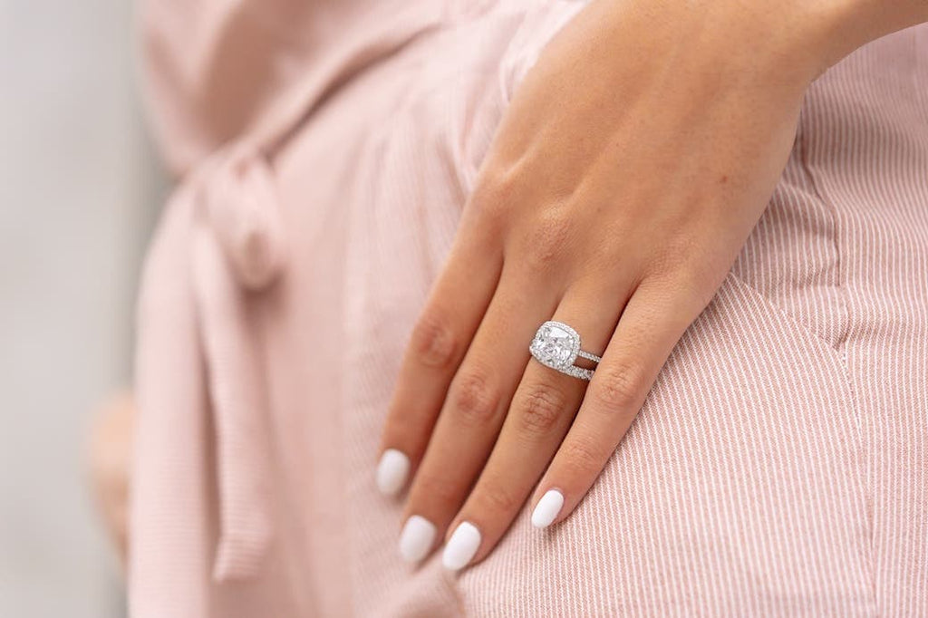 unique engagement ring halo inexpensive conflict free affordable wedding band