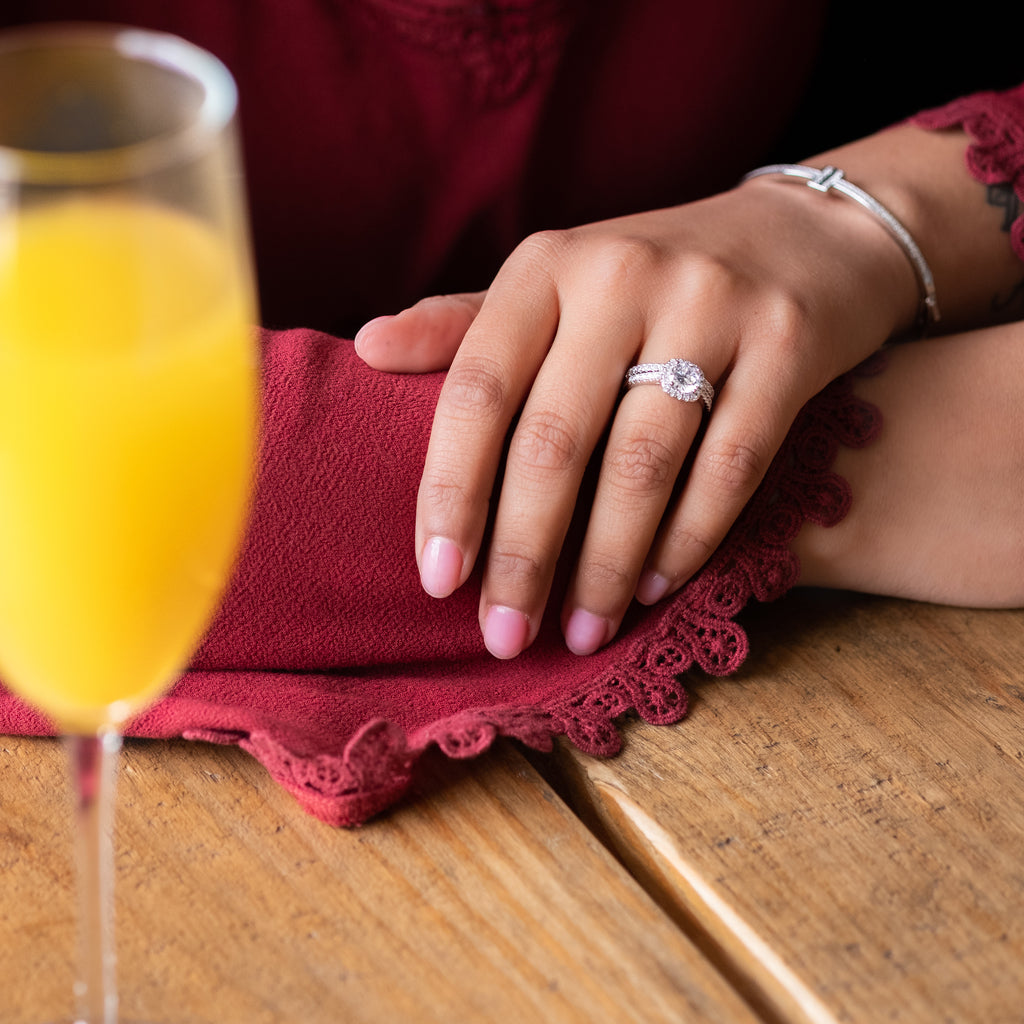 valentine's day brunch mimosa date engagement and wedding rings for her