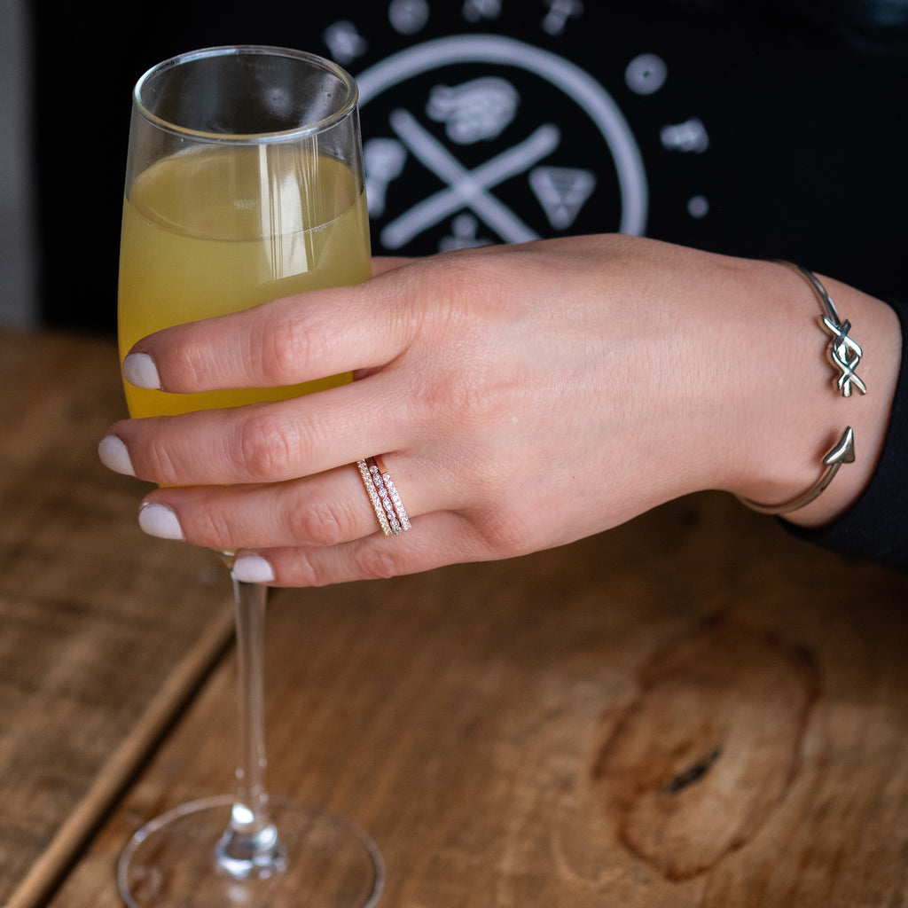 valentine's day brunch mimosa date ring stack