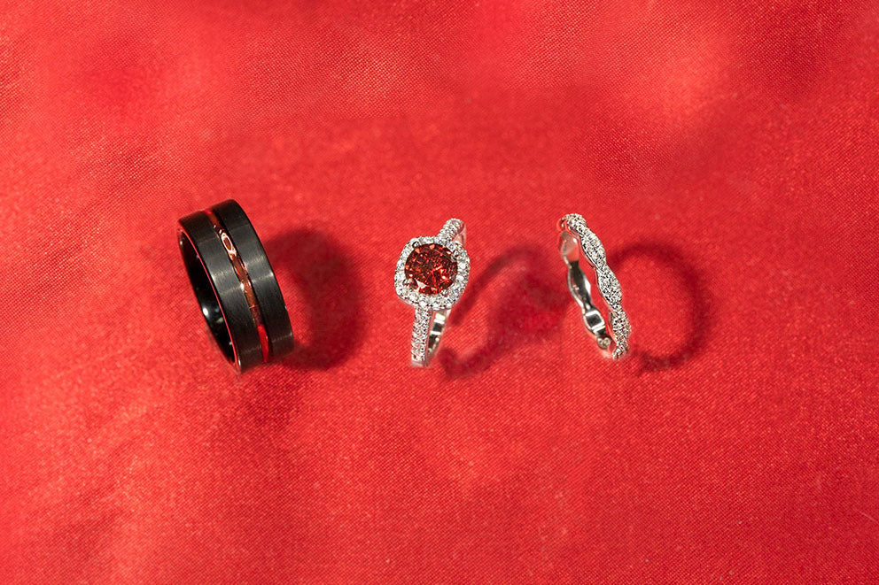 various rings on red