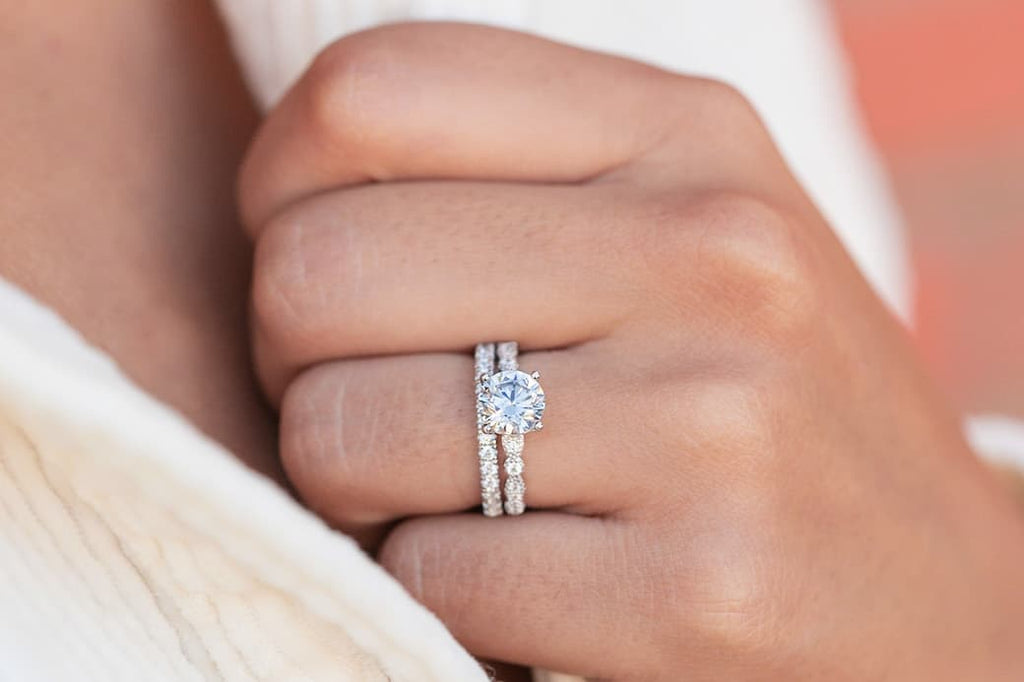 vintage engagement ring wedding band set round cut simulated diamond eternity classic band inexpensive affordable conflict free