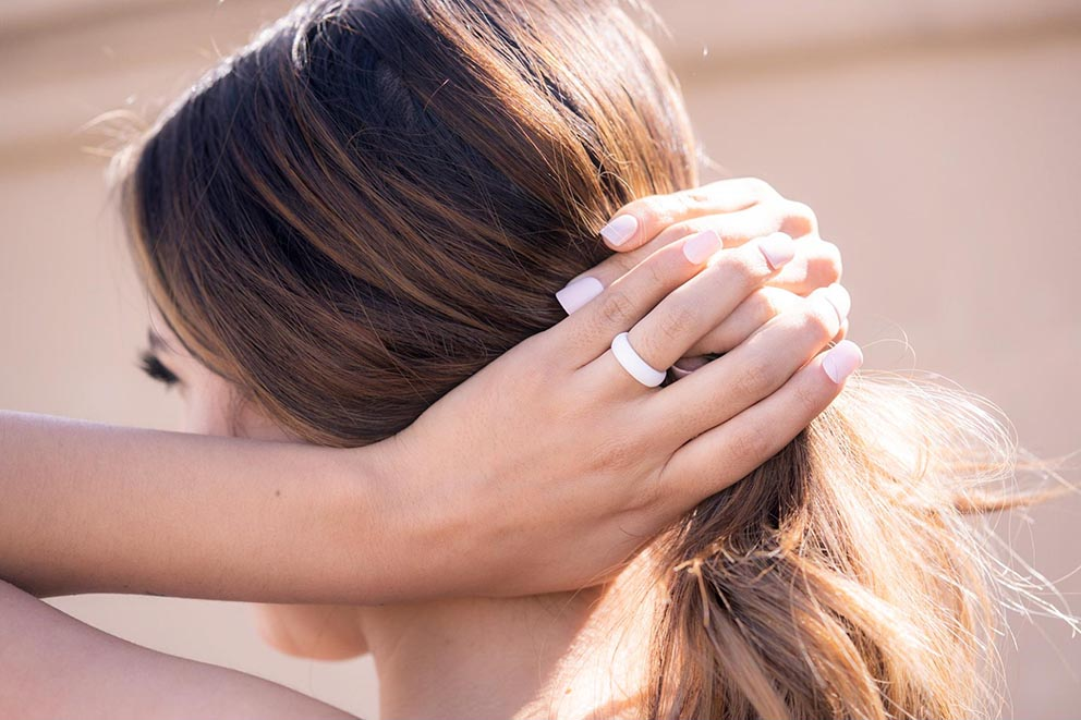 woman wearing silicone ring